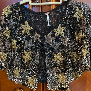 FreePeople Cosmic Dancer Embellished Cape